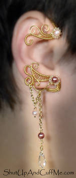 Gold and Pink Pearl Ear Wrap