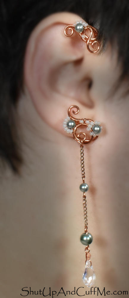 Copper and Green Glass Pearl Ear Wrap