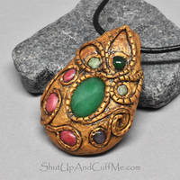 Gold Polymer Clay and Gemstone Necklace