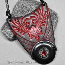 Hematite Donut in Polymer Clay Necklace
