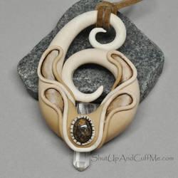 Quartz Crystal and Leopard Skin Jasper Necklace