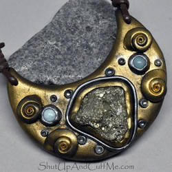 Pyrite and Polymer Clay Necklace