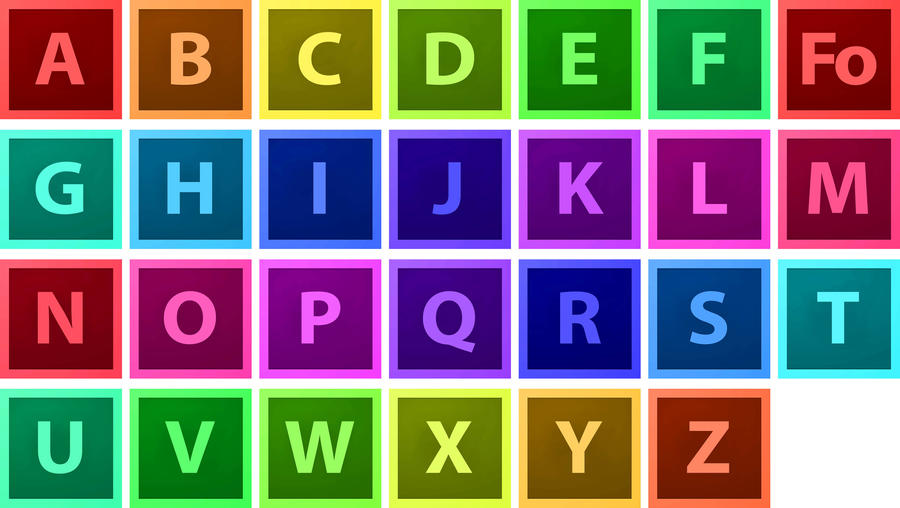 Adobe CS6 style Alphabet Icons by akeel1701