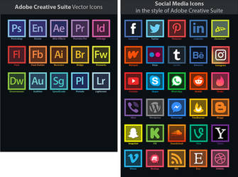 Social Media Icons in the style of Adobe Creative by akeel1701