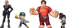 Wreck-It Ralph Pokemon Sprites by CherushiMetsumari