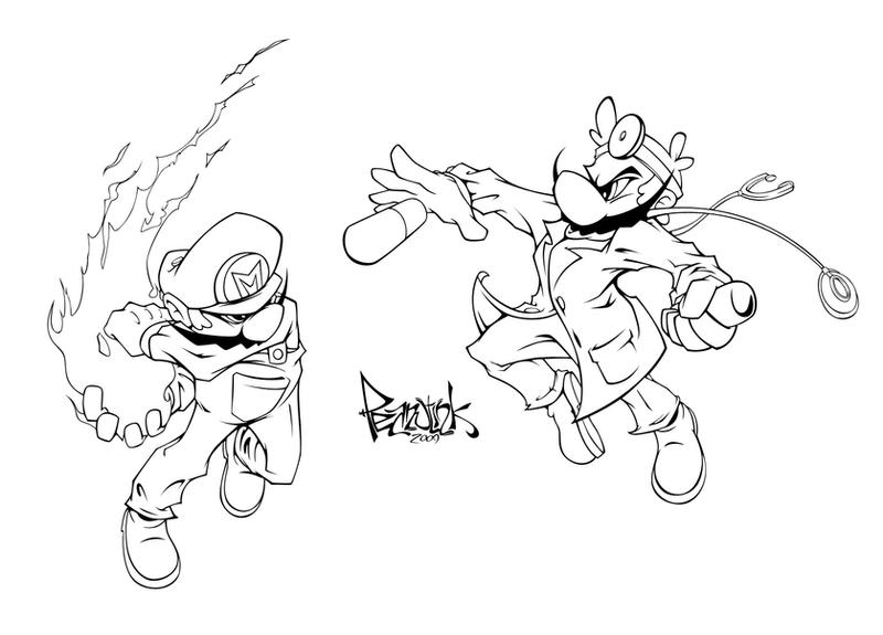 Doctor mario coloring pages
