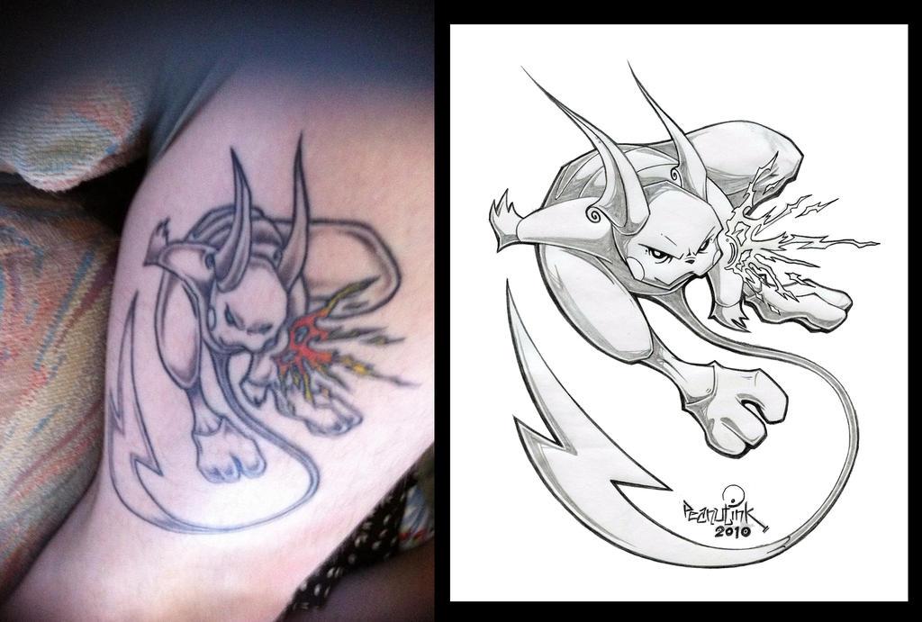 Raichu tattoo by pnutink