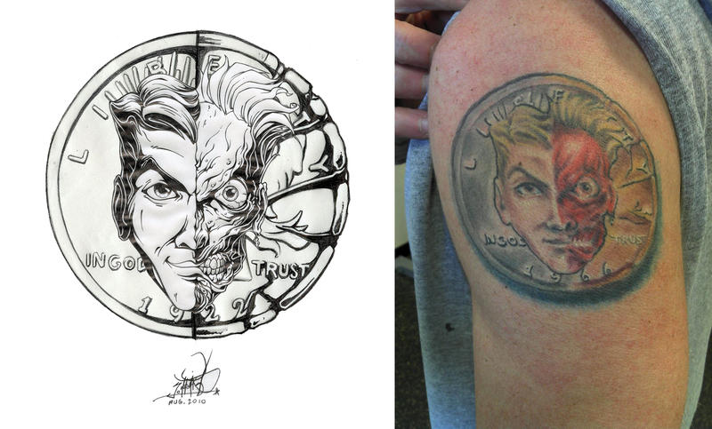 Two face coin tattoo by pnutink on deviantart for Two faced tattoo