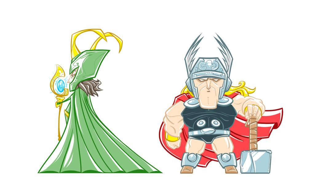 Marvel Minis Set 2 - loki / thor by pnutink
