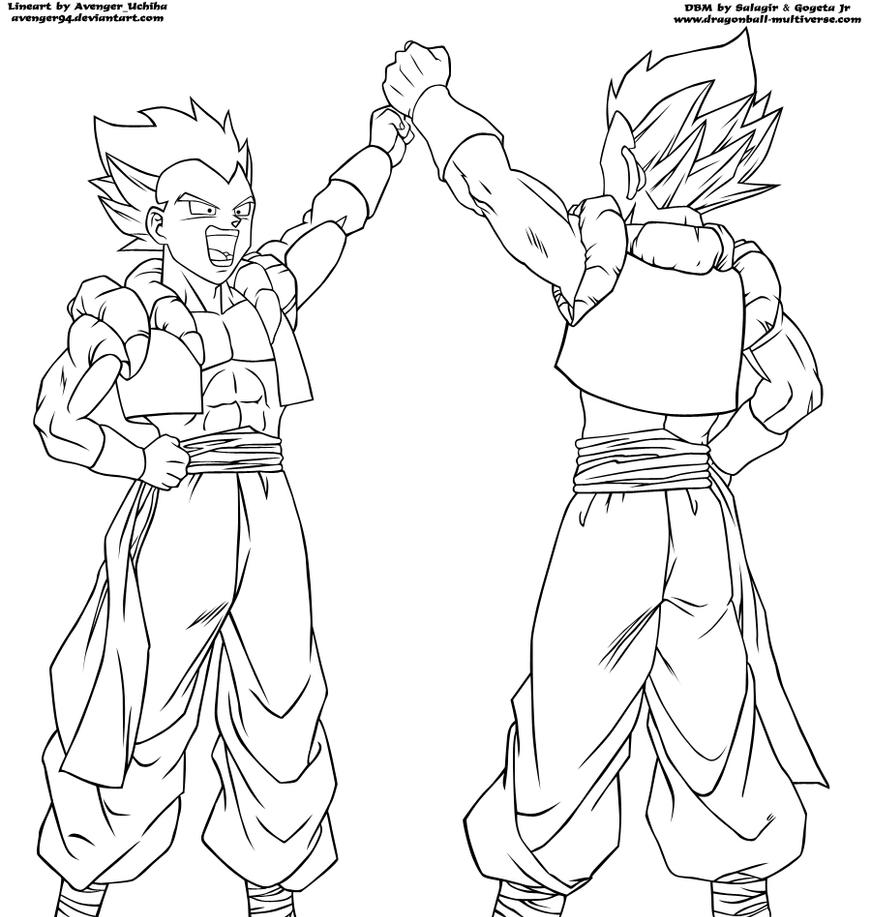 dbm 314 page gotenks lineart by avenger94 - Gogeta Coloring Pages