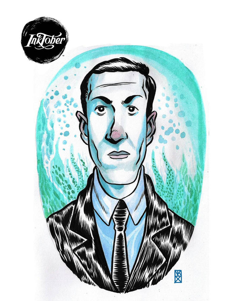 Inktober   -day 6- H.P Lovecraft by nockiman