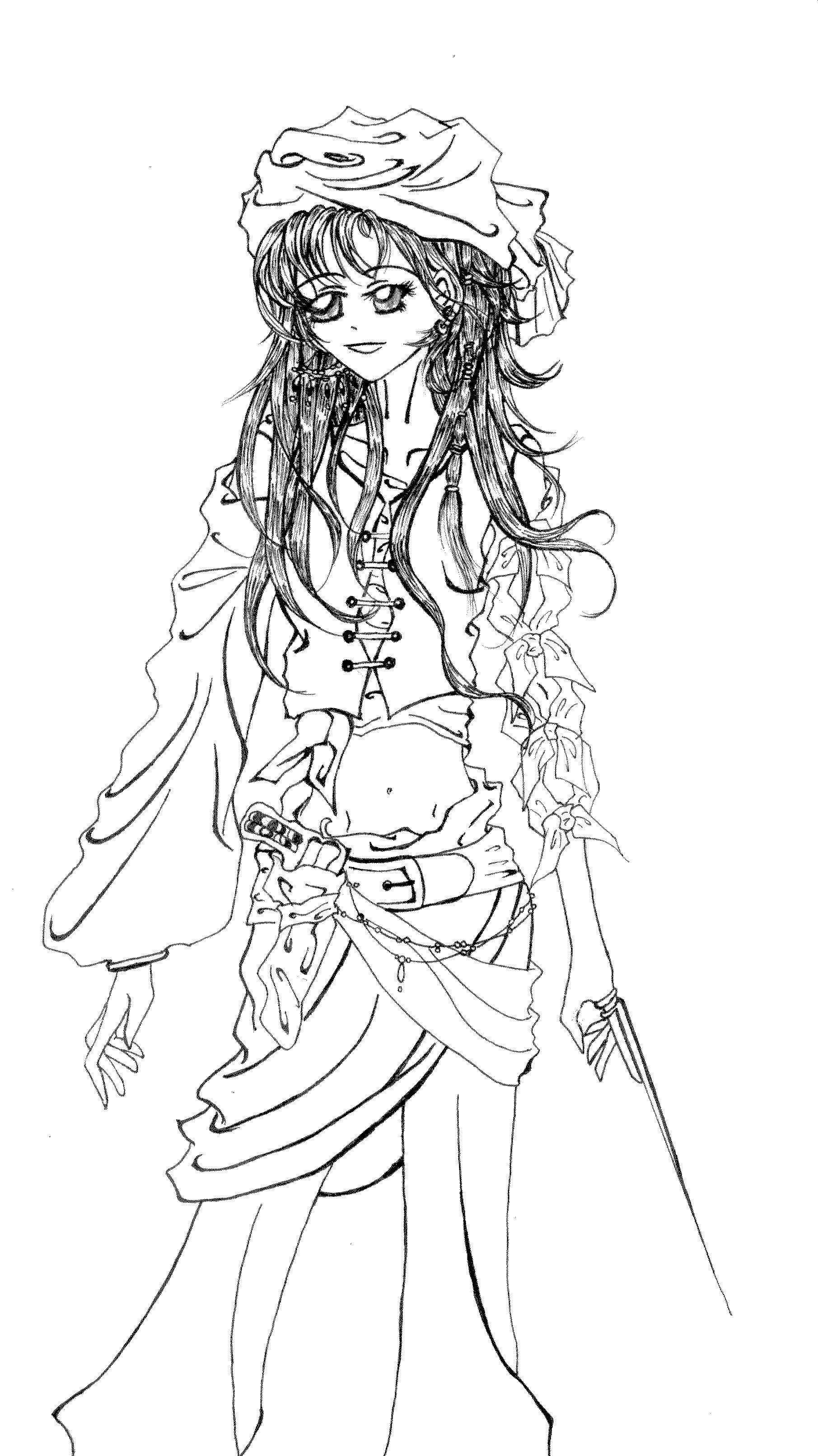 Female pirate drawing - photo#19