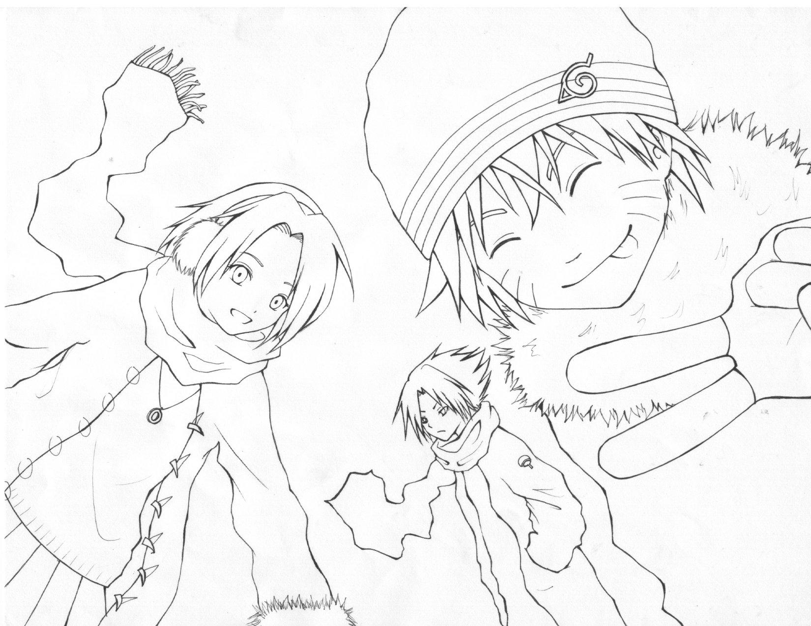 Naruto - winter lineart by panchan77