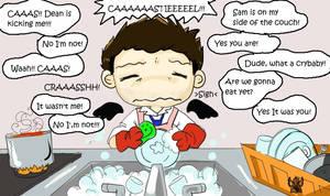 The real hard job  of Castiel by KamiDiox