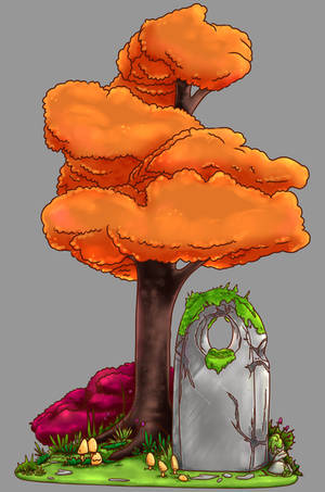 The stone under the tree. by Myrrael