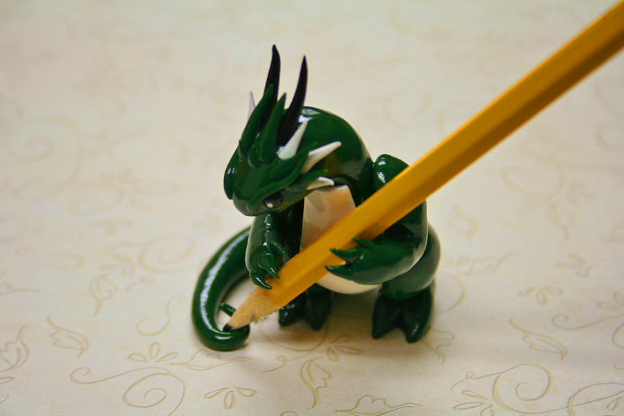 Green and White Dragon Pencil Holder by redninjacreations