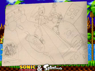 Sonic And Splatoon Crossover Drawing by Fleezo