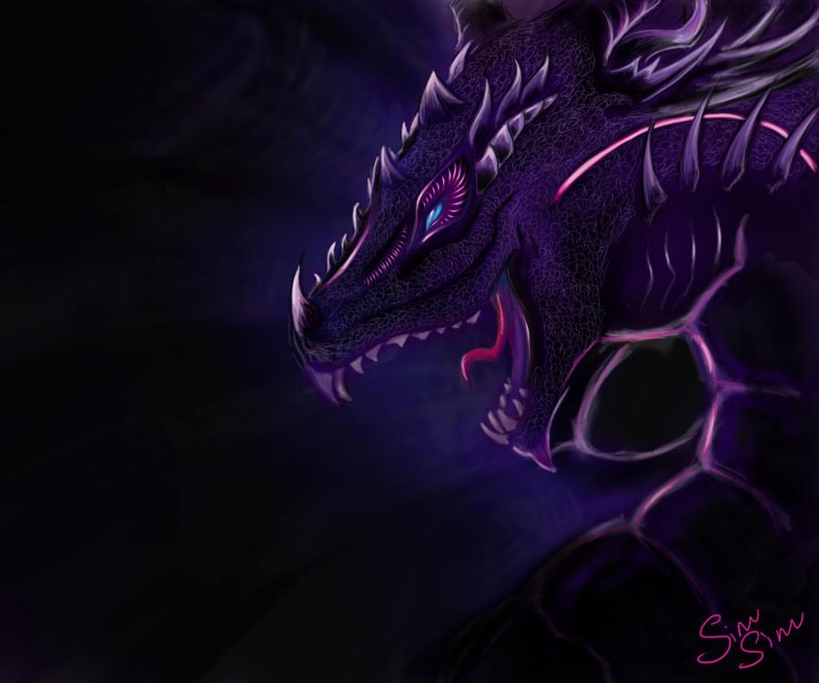 Dark Purple Dragon By Multisimsim