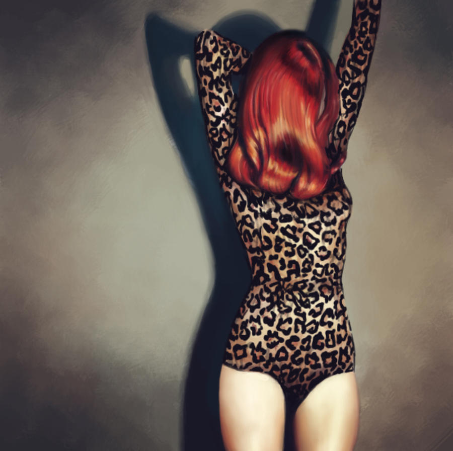 Red Hair And Leopard Print by DeerHead