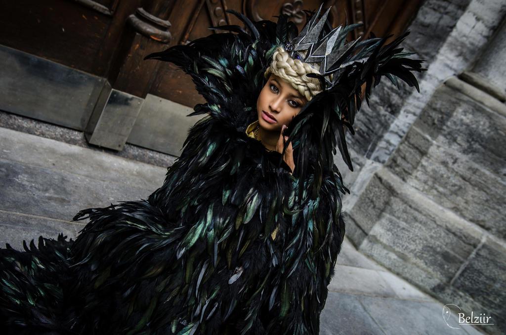 White peacock feather wedding dress