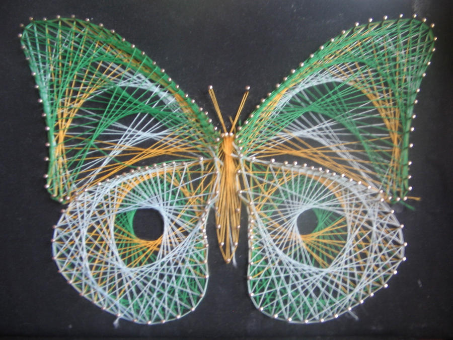 ... Year Ago In Addition Print String Art Patterns Butterfly. | Free Image