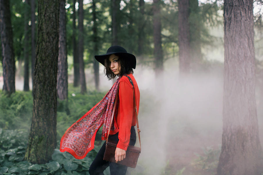 Alina and foggy forest