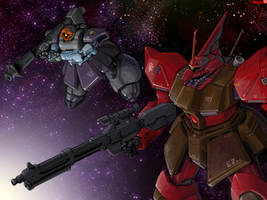 Gelgoog Jaeger and Rick Dom II by RyujinDX