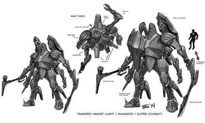 Hundred Hands Mecha Concept by RyujinDX