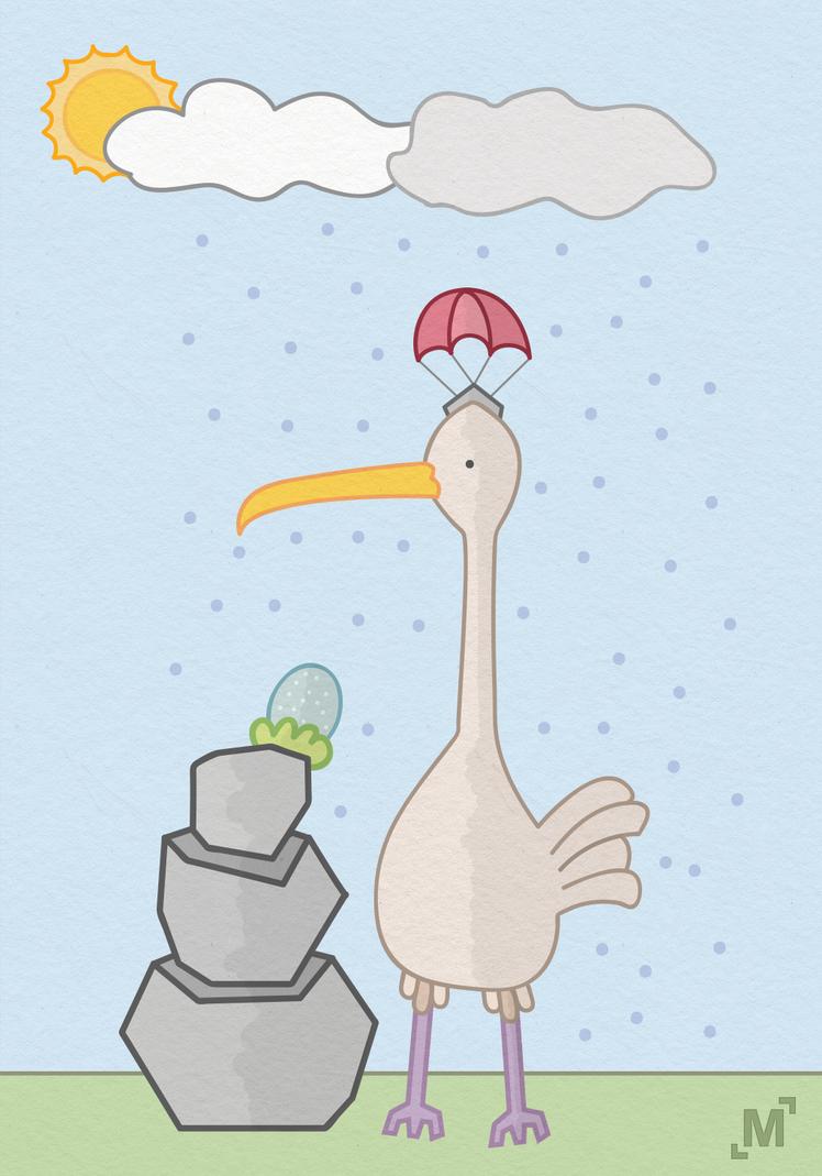 Bird in rain by MilosKukic