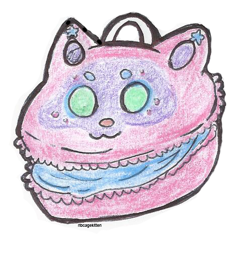 Macaron Badge - Ribcage Kitten by RibcageKitten