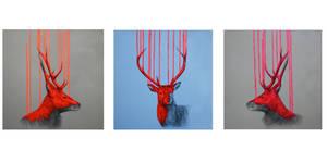 Wild Stag Triptych