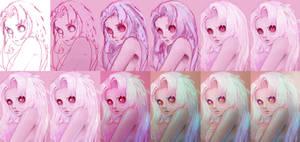Albino Owl Girl - the process