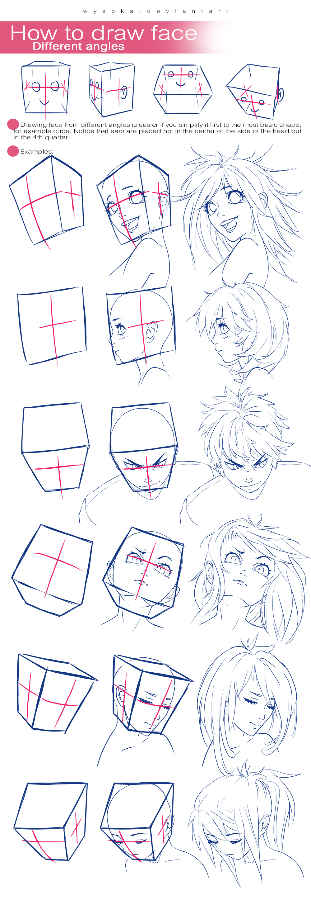 Scribble Drawing Face : How to draw face different angles by wysoka on deviantart