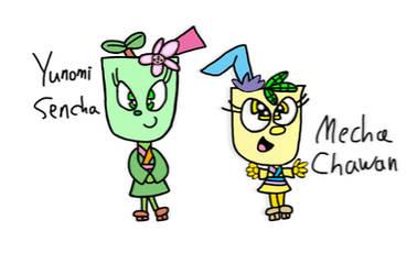 Cuphead OCs Yunomi-Sencha and Mecha-Chawan by boo-boo-kitty-108