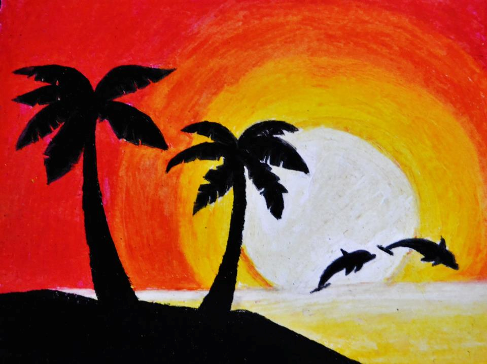 Sunset Beach Silhouette W Dolphins In Pastels By WonderRealm