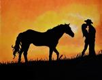 Sunset Silhouette Couple on Beach w Horse Pastel