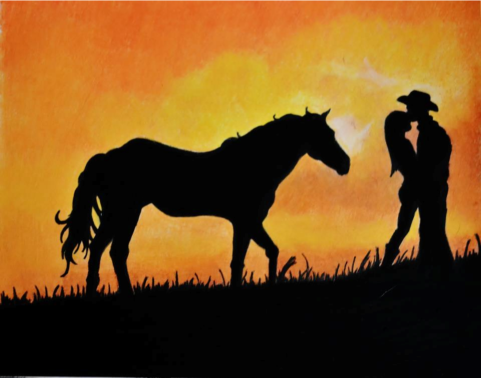 Couple Silhouette Sunset Painting Sunset Silhouette Couple on