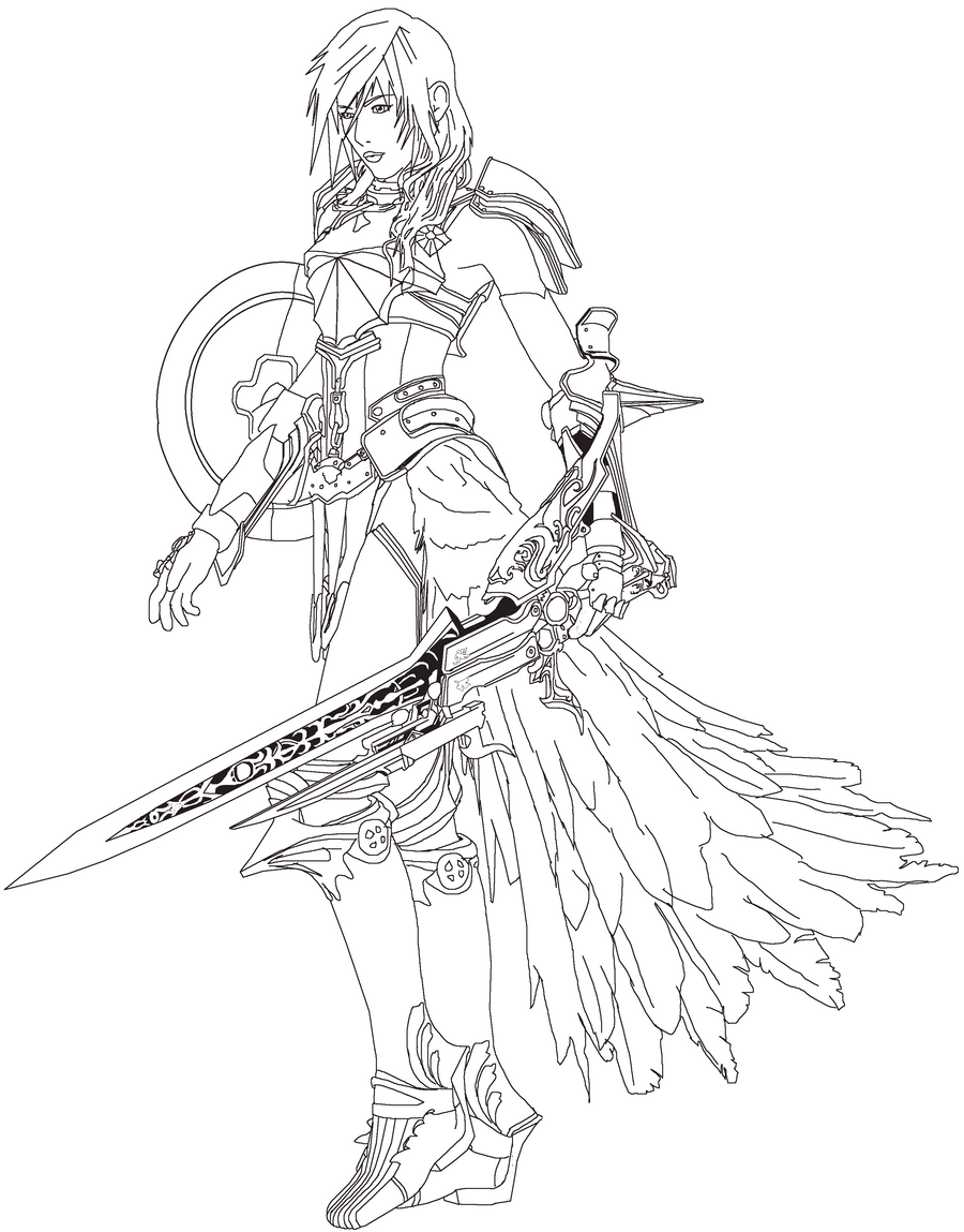 Lightning ff13 2 lineart practice by primavistax on for Final fantasy coloring pages