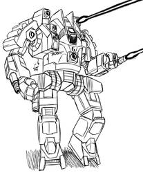 Sketch Comm ProfPyro: Crockett 'Aoshi' BattleMech by prdarkfox