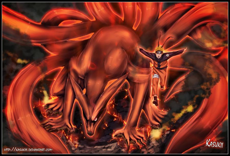 Nine Tails and Naruto by Kasukiii on DeviantArt