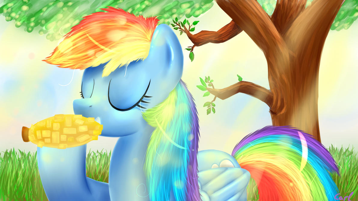 Rainbow dash eating crystal Corn by CarligerCarl