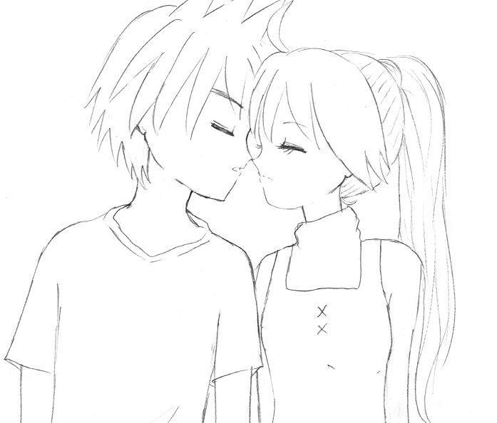 Line Drawing Kiss : Just a kiss lineart by miyamiyah on deviantart