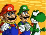 Mario, Luigi and Yoshi Fake Anime Screenshot by TheLogoCooler
