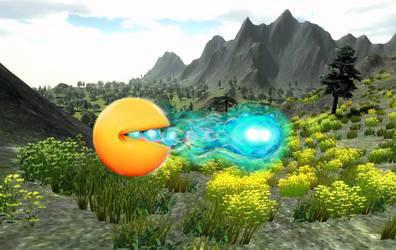 Pacman doing a hadouken in Gaia by dixiekasilke