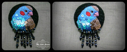 Red-Cheeked Cordonbleu Finch - embroidered brooch by My--Little--Garden