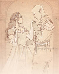 Sketch commission: Eryn and Solas by Isbjorg