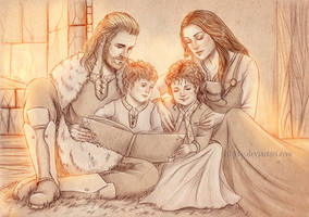 Detailed sketch commission : Family Reading