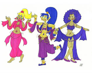 Blonde, Blue and Purple Belly Dancers by EmperorNortonII