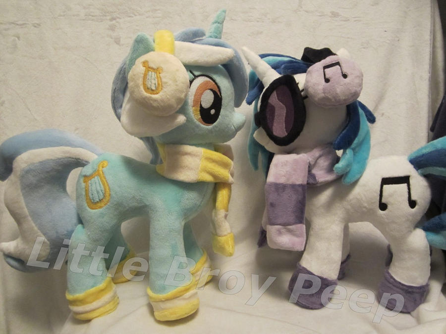 MLP Plushie Vinyl scratch Djpon3 and lyra plush by Little-Broy-Peep