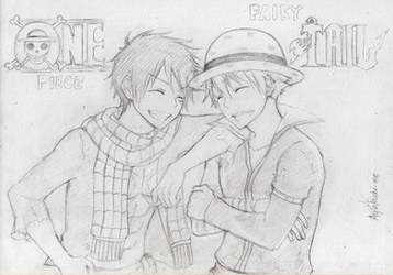 One Piece x Fairy Tail crossover sketch